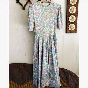 Vintage Floral Pastel Twirl Dress